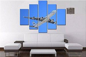 Quadro Mosaico 5 Partes Aviao - 100 cm x 68 cm
