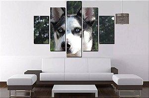 Quadro Mosaico 5 Partes Husky Siberiano - 100 cm x 68 cm