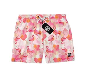Short Bermuda Ney Moda Praia Mauricinho Flamingo