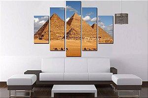 Quadro Mosaico 5 Partes Piramides Do Egito 100 cm x 68 cm