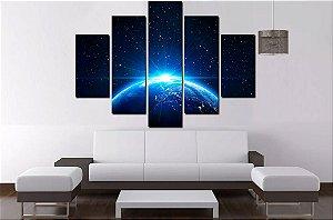 Quadro Mosaico 5 Partes Mundo Espaço 100 cm x 68 cm