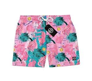 Short Bermuda Ney Moda Praia Mauricinho Flamingo