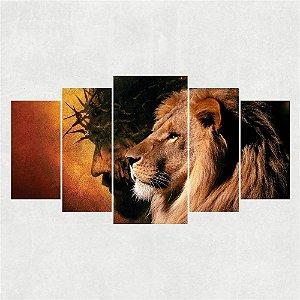 Painel Mosaico 5 Partes Leão e Jesus Cristo