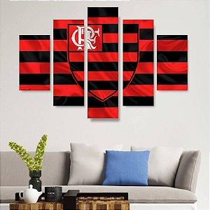 Quadro Mosaico 5 Partes Flamengo 100cmx68cm