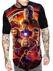 Camiseta Longline Estampa Full Vingadores