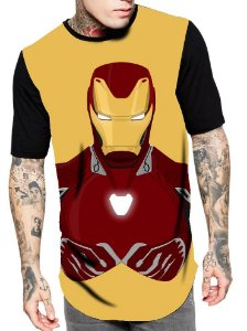 Camiseta Longline Estampa Full Homem de Ferro Vingadores