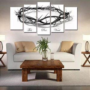 Painel Mosaico 5 Partes Quadro  Coroa Espinhos Jesus Foi Por Você Decorativo