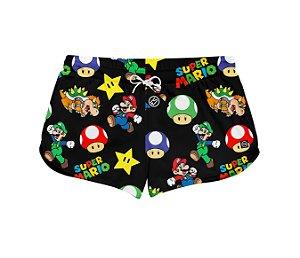 Short Feminino Moda Praia Patricinha Super Mario