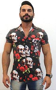 Camisa Floral Caveira Masculina Social Luxo Lançamento