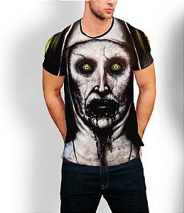 Camiseta Longline Estampa Full A Freira Filme Terror