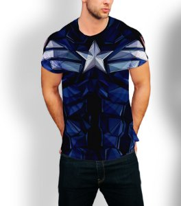 Camiseta Longline Estampa Full Capitão America