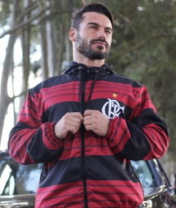 Jaqueta Blusa de Zíper Corta Vento Estampa Full Flamengo
