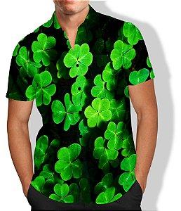 Camisa Trevo de 4 Folhas Masculina Social Luxo Lançamento