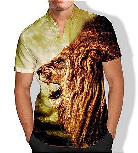 Camisa Leão Jesus Masculina Social Luxo Lançamento