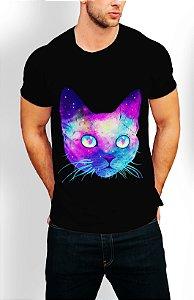 Camiseta Longline Estampa Full Gato
