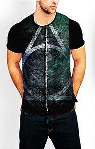Camiseta Longline Estampa Full Harry Potter