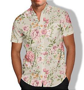 Camisa Floral Rosas Masculina Social Luxo Lançamento