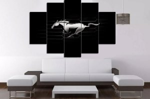 Painel Mosaico 5 Partes Mustang Logo