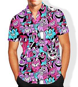 Camisa Masculina Social Luxo Lançamento Estampa Desenho Animado