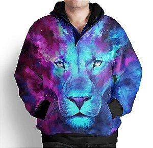 Blusa Moletom Com Capuz Estampa Leão Galaxia