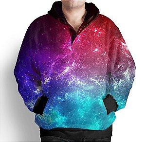 Blusa Moletom Com Capuz Estampa Galaxia Nebulosa