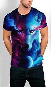 Camiseta Longline Estampa Full Lobo Galaxia