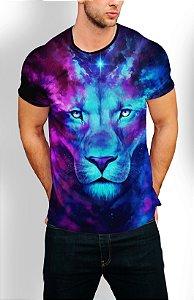 Camiseta Longline Estampa Full Leão Galaxia