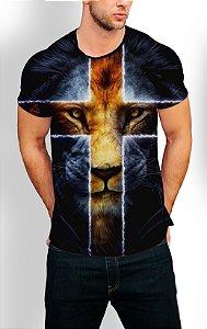 Camiseta Longline Estampa Full Leão Jesus