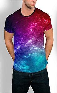 Camiseta Longline Estampa Full Galaxia Nebulusa