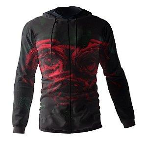 Jaqueta Blusa de Zíper Corta Vento Estampa Full Rosas Vermelhas