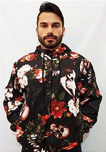 Jaqueta Blusa de Zíper Corta Vento Estampa Full Caveira