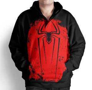 Blusa Moletom Com Capuz Estampa Full Homem Aranha