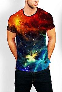 Camiseta Longline Estampa Full Galaxia Nebulosa