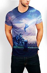 Camiseta Longline Estampa Full Thor Ragnarok