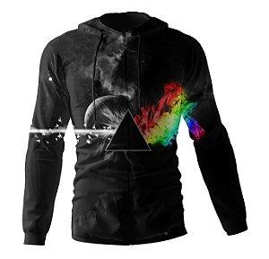 Jaqueta Blusa de Zíper Corta Vento Estampa Full Pink Floyd