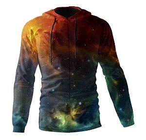 Jaqueta Blusa de Zíper Corta Vento Estampa Full Galaxia Nebulosa