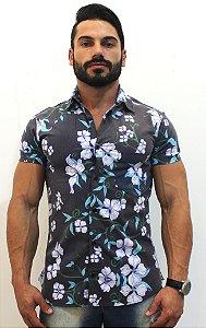 Camisa Masculina Social Luxo Lançamento Estampa Floral