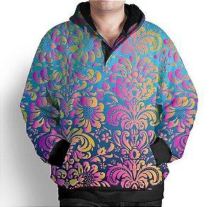 Blusa De Frio Moletom Estampa Full Floral Neon