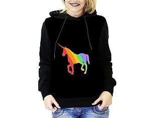 Blusa De Frio Full Estampado Unicórnio LGBT Moletom Feminino