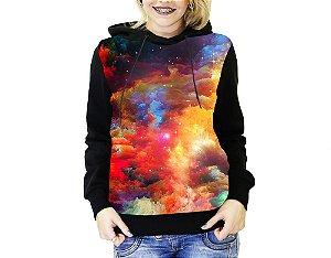 Blusa De Frio Full Estampado Galaxia Moletom Feminino