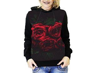 Blusa De Frio Full Estampado Rosas Moletom Feminino
