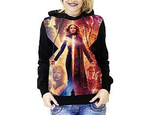 Blusa De Frio Full Estampado X-Men Fenix Negra Moletom Feminino