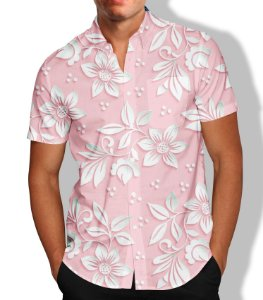 Camisa Masculina Social Luxo Floral