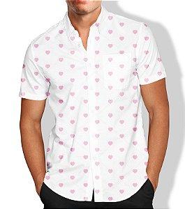 Camisa Masculina Social Estampa Coração