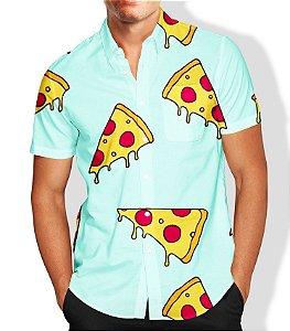 Camisa Lançamento Masculina Full Estampada Social Pizza