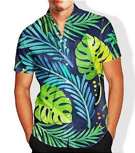 Camisa Social Lançamento Masculina Full Estampada Folhagem