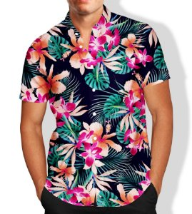 Camisa Social Lançamento Masculina Full Estampada Flores