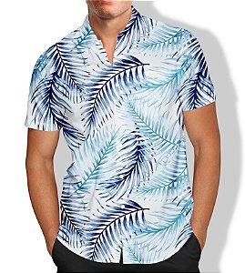 Camisa Social Lançamento Masculina Full Estampada Palmeira