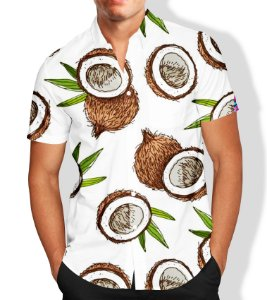 Camisa Social Lançamento Masculina Full Estampada Coco