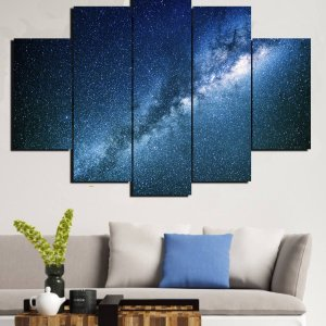 Painel Mosaico 5 Partes Galaxia Nebulosa
